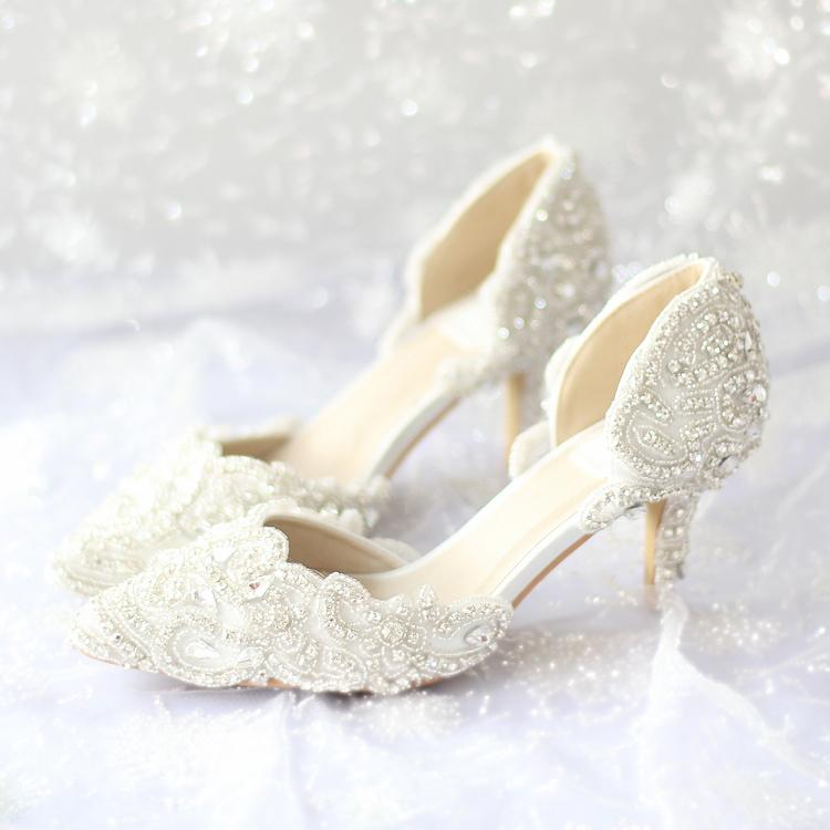 2015 new beautiful wedding shoes handmade ivory lace bridal shoes pointed toe rhinestone party dresses shoes lady high heels