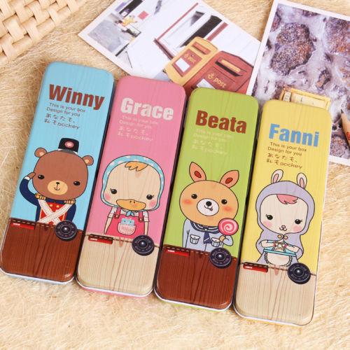 2PCS Cute Cartoon Pencil Box Kawaii Pen Case Metal Tin Pen Box School Stationary(China (Mainland))