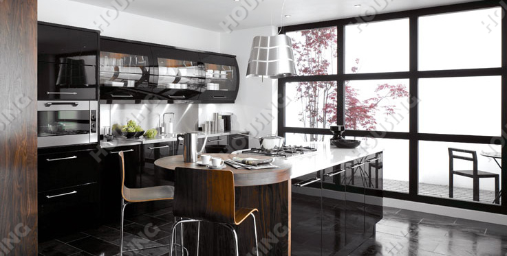 Customized high gloss black kitchen cabinet small kitchen for High gloss black kitchen cabinets
