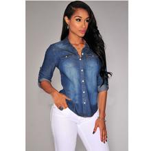 2015 Summer,Autumn Sexy Club Denim Blusas Fashion Long Sleeve Women Clothing Jeans Shirt Casual Slim Tops Plus Size AY860010(China (Mainland))