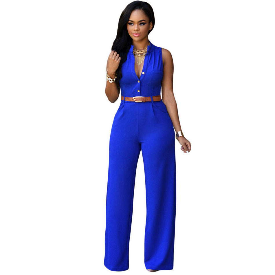 Simple Women Elegant Jumpsuit Ladies Sexy Slim VNeck Cap Sleeve Jumpsuits