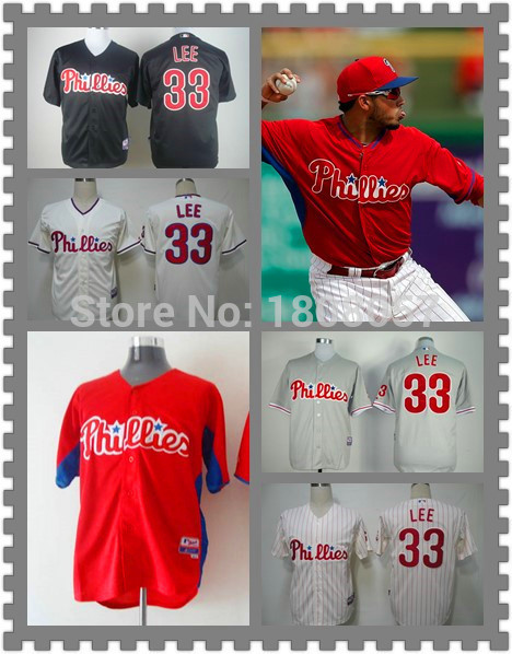 Cheap Philadelphia Phillies Jersey 33 Cliff Lee Baseball Jerseys,Red White Black Gray Embroidery Logos Jersey,Accept mix order(China (Mainland))