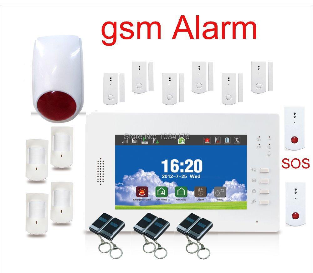SOS alarm gsm panic button alarm system 6 door sensor 4 pir 2 SOS alarm button(China (Mainland))