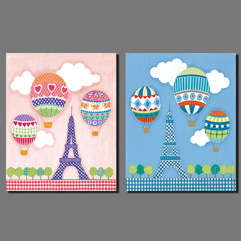 Air balloon sweet Eiffel tower Pink blue picture decoration Canvas Painting wall Art children kid room print home decor unframed(China (Mainland))