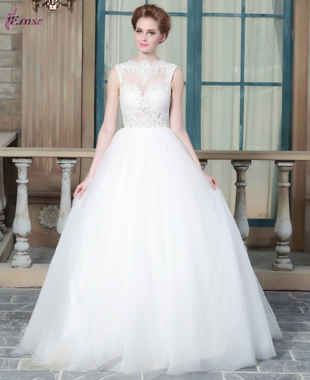 Ball Gown Sheer Lace Bodice Sexy Alibaba Bridal Gowns Made In China Wedding Gowns With Keyhole Back ERW047(China (Mainland))