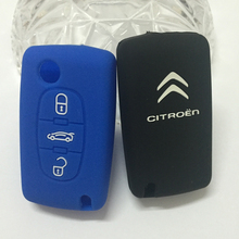 Silicone Remote Control 3d logo Car Key Case for Citroen Triunph Sega C5 C4 accessories car