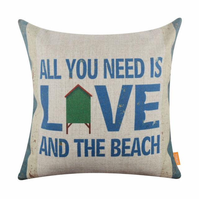 """LINKWELL 18 """"x 18"""" пляж Прибрежные Декор Все, что вам Нужно, это Любовь и Пляж Морской Комната Отдыха Мешковина Наволочка Чехлы"""