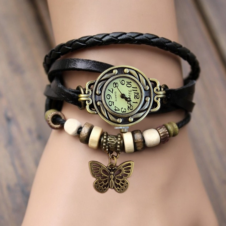 Butterfly Pendant Decoration Womens Dress Watches Fashion Vintage Antique Womens Bracelet Handmade Weave Watch #7 19255(China (Mainland))