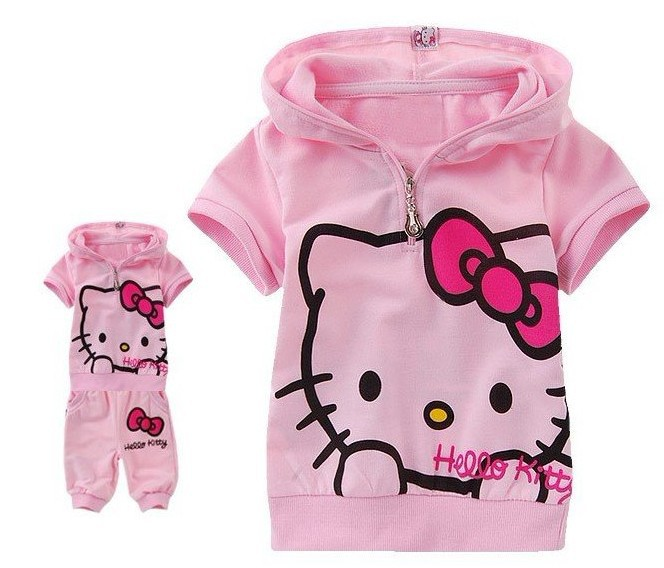 JT-005 Retail 2014 new girls garment children's clothing set cute kitty short sleeve t-shirt + pants baby clothes free shipping(China (Mainland))