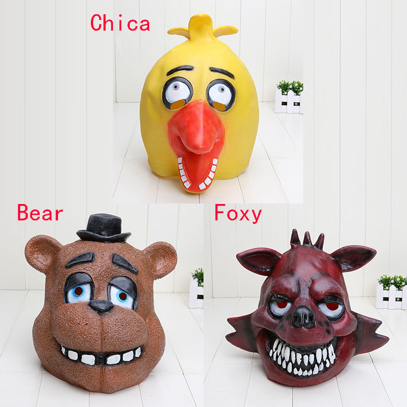 Quality Adult Five Nights At Freddy's Freddy chica foxy bear Full Latex Mask Latex Figure Toy FNAF toy(China (Mainland))