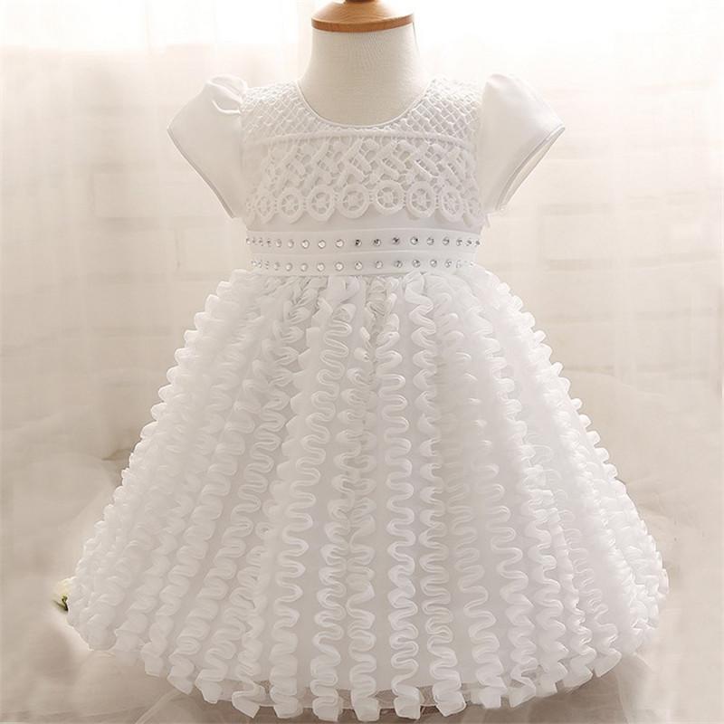 High Quality Summer Infant Baby Girls Princess Dress Mesh Flowers Birthday Party Kids Children Puff Sleeve Dress(China (Mainland))