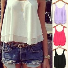 Charming 4 Colors Women Summer Clothing Bilayer Sleeveless Shirt Chiffon Loose Vest Tank Tops Blouse Women Crop Tops(China (Mainland))
