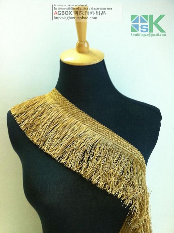 DIY New Lace wholesale 3 Yard/lot 11cm tassel ribbon lace fabric luxury gold black white tassel fringe trimming diy garment acc(China (Mainland))