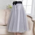 2016 Fashion Women Retro High Waist Eugen gauze veil bow elastic waist skirts ladies Knee Length