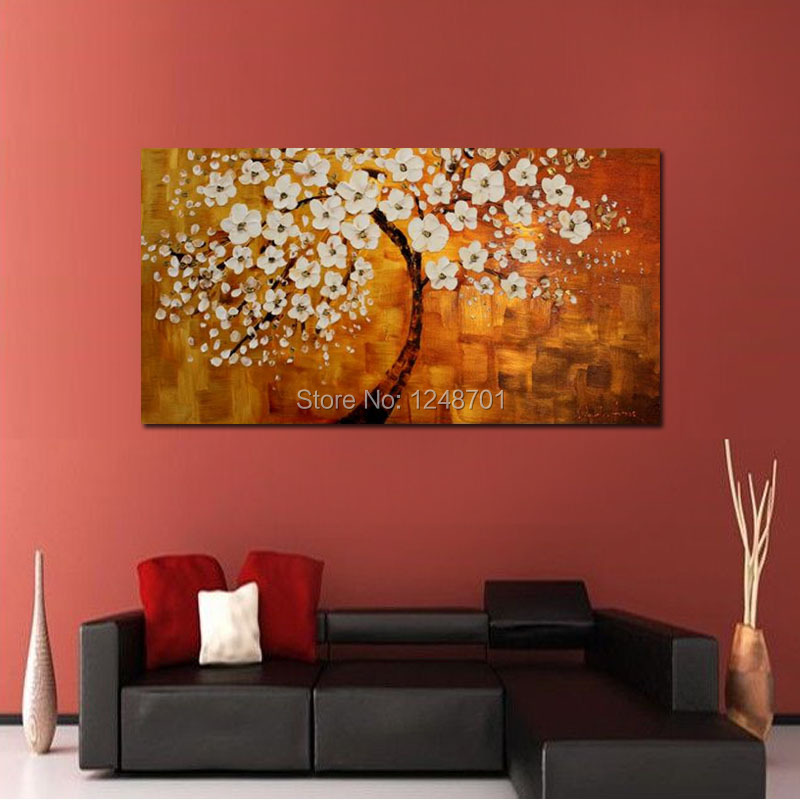 Buy Handpainted abstract white bloom flower tree canvas thick textured oil painting palette knife art Modern decoration art cheap
