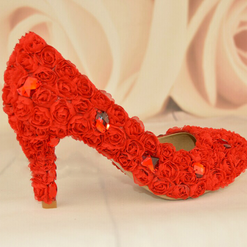 Фотография Free Shipping Red Flower Woman Wedding Dress Shoes Fashion Woman Bridal Shoes Lady Crystal Evening Party Prom Dress Shoes