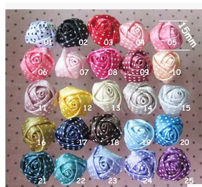 1.5cm wave point ribbon roses rose buds small manual diy jewelry findings(China (Mainland))