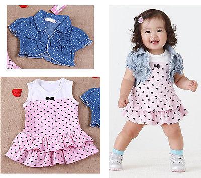 [해외]2Pcs Kids Clothing set Baby Girls Dress + Top Summe..