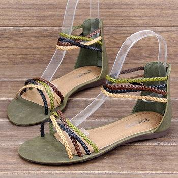 Women's Sandals knit strap lady shoes slipper Summer Beach Flip Flops Lady Slippers Sandals for Women charming Flat Shoes Women