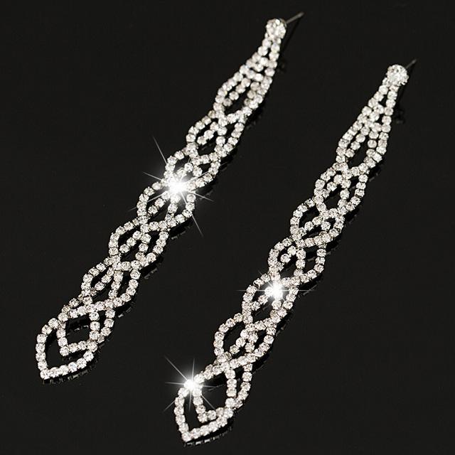 Мода изящные вечера женщин ювелирные изделия полный кристалл заполненные длинные серьги для женщин