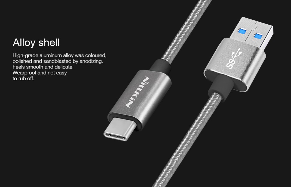 Nillkin USB-C to USB 3.0 Cable 1M 3A MAX Artificial Silk Braided for USB Type-C Devices for Huawei P9 Meizu Pro6 LG G5 Xiaomi M5