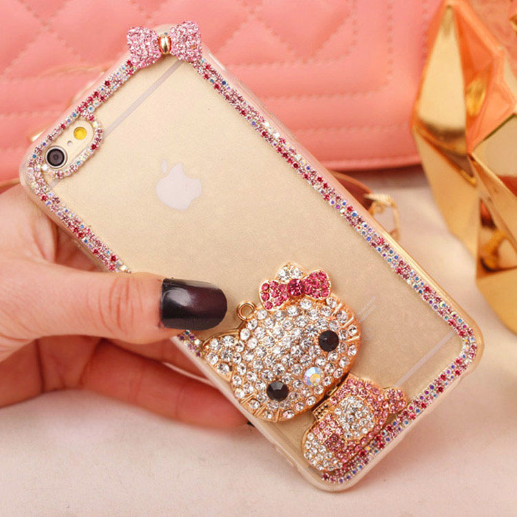 new Luxury Crystal Rhinestone hello kitty Clear Diamond Shining Bling For iPhone 7 7plus 6 6s plus 5 5s SE 4 4s cute Phone Case(China (Mainland))
