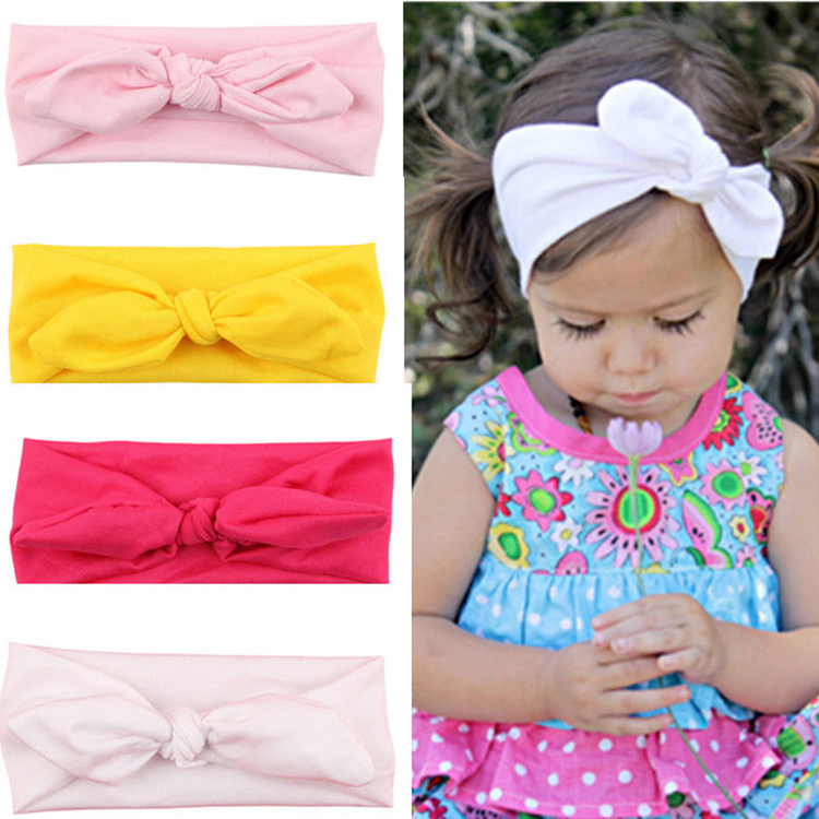 Hot Sale 8 colors Lovely Rabbit Ears Bowknot Shaped Elastic Cloth Baby Girls Hairbands Children Hair Accessories Shipping Free(China (Mainland))