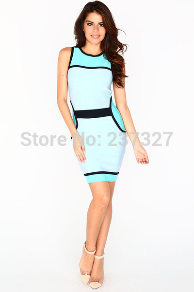 Free Shipping 2015 Summer New Arrival Mint Blue&Black Bandage Pencil Dresses Business Casual Clothes For Women(China (Mainland))