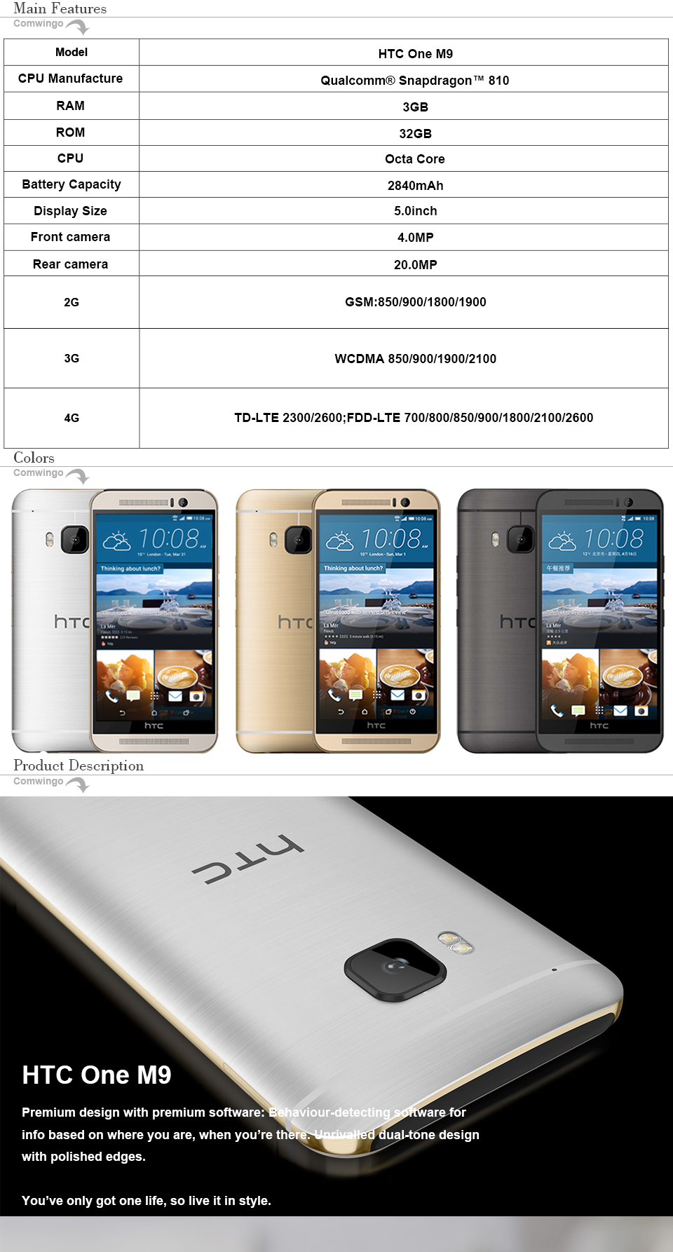 Unlocked HTC One M9 3GB RAM 32G ROM 4G LTE Mobile Phone 1920*1080P 20MP Octa-Core 5.0 inches Octa Core Android 5.0 m9