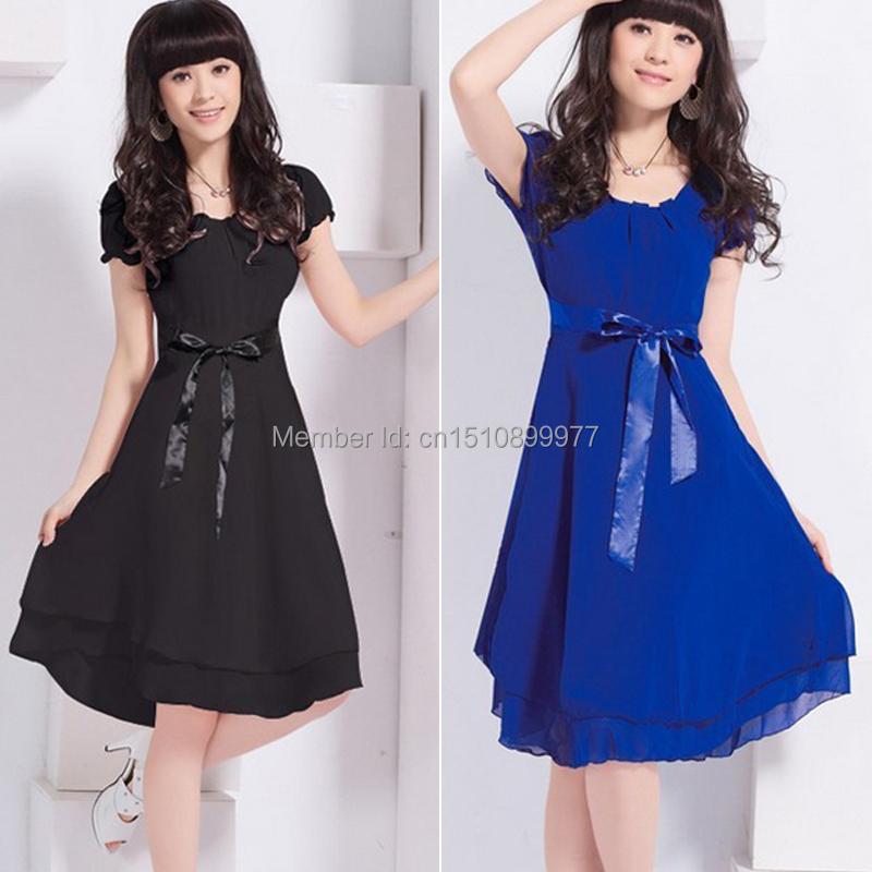Fashion Size M L XL Sweet Slim Fit long Dress Chiffon Dress Blue Light blue Dark Pink Black  Free Shipping(China (Mainland))