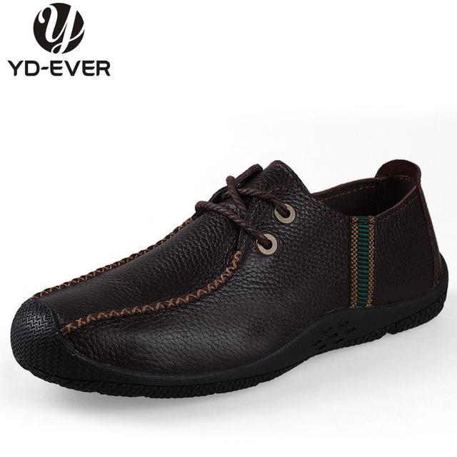 100% натуральная кожа мужской обуви - Большой размер дышащий свободного покроя обувь ...