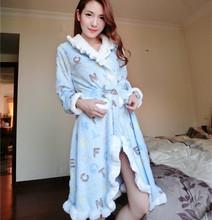 women winter robes long lacing slim waist color block decoration turn-down collar coral fleece warm casual sleepwear tracksuit(China (Mainland))