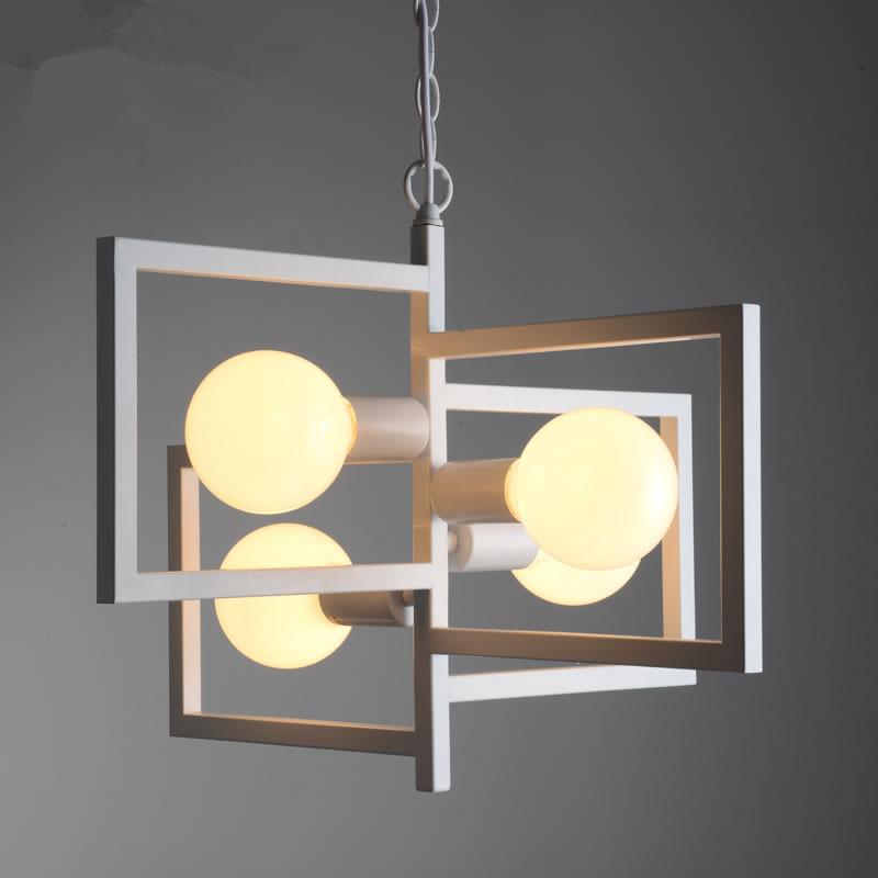 Retro loft dining room creative white black simple pendant for 1950s minimalist house