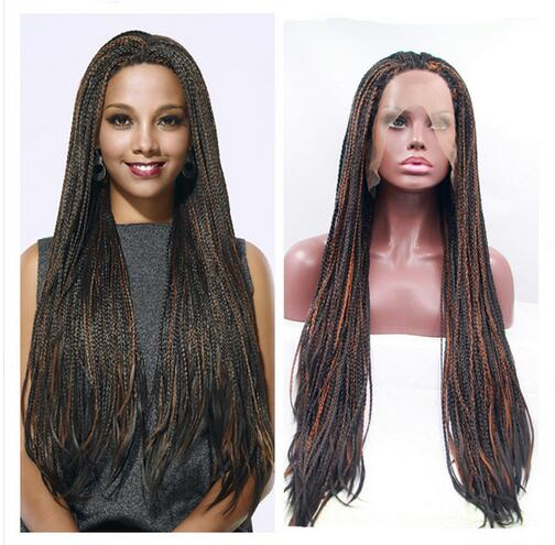 New arrival fashion african american premium black mix brown braid wig Straight natural micro braided wigs lace front wig<br><br>Aliexpress