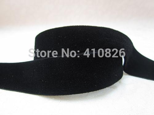 WM ribbon 7/8inch 22mm 14619025 black color single faced nylon no elastic velvet ribbon solid color DIY accessory free shipping(China (Mainland))