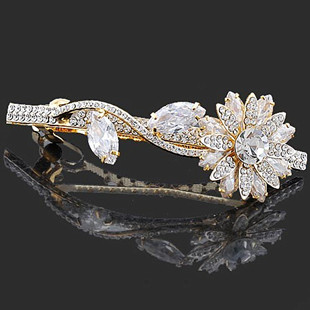 Neoglory accessories silver champagne color rhinestone zircon hairpin clip hair pin exquisite(China (Mainland))