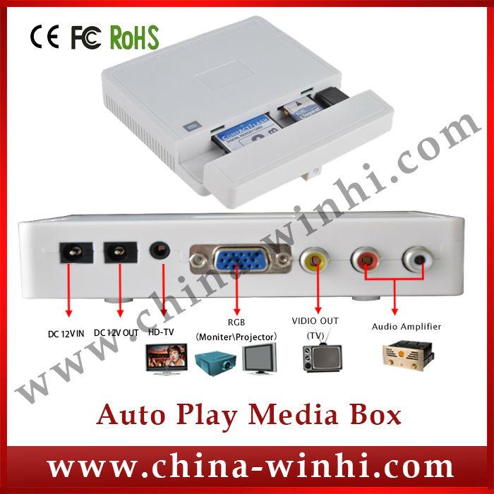 Plastic shell industrial portable USB SD CF programming display video advertising hdd media player(China (Mainland))