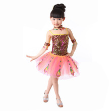 International Children's Day children's clothing dance costumes girls Peacock Dancing performance dresses for stage 110-140cm(China (Mainland))