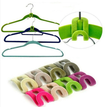 10pcs/lot Home Creative New Mini Flocking Clothes Hanger , Flocking Holder, Mini Anti-Clip, Pp Hook(China (Mainland))
