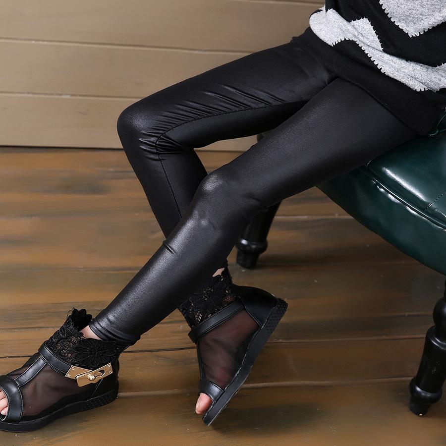 Grils leggings faux leather high quality slim children leggings Baby kids High elasticity skinny pants leggings 4-13Y GPU682