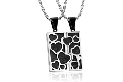 New arrival couple pendant square Energy Pendant quantum pendant magnetic stainless steel crystal magnet pendant necklace 733(China (Mainland))
