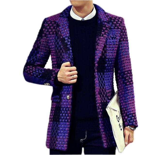 2016 зимние пальто Мужчины однобортный Траншеи Пальто Мужчины Верхняя Одежда плед Повседневная Пальто мужская Куртка Ветровка Мужчины Траншеи пальто