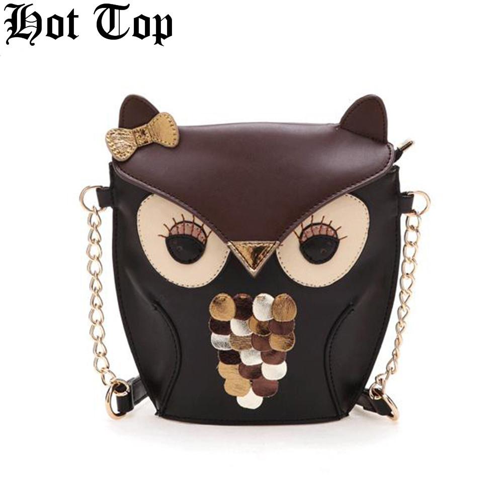 Hot Promotion fashion women leather PU soft handbag cartoon bag owl fox designer shoulder bags women messenger bag for teenagers(China (Mainland))