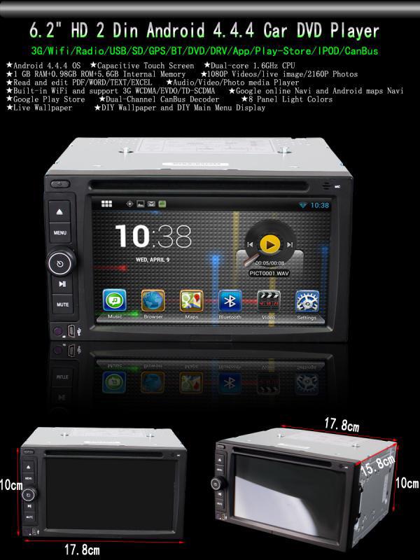 6 2 Android 4 4 4 OS Wifi 3G Car DVD Player GPS Nav Radio Stereo