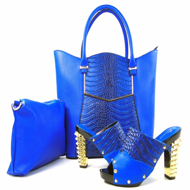 New Style Women Italian Pumps Shoes With Matching Bags Set Fashion African High Heel Shoes And Bag Set For Party Dress