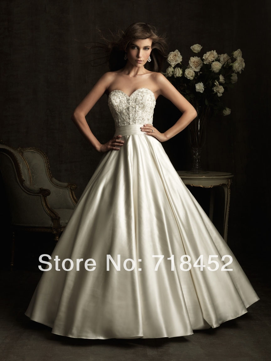 2014 New Big Wedding Dresses with Lace Satin Bridal Gowns Vestido De Noiva Low Back Free Shipping NW437(China (Mainland))