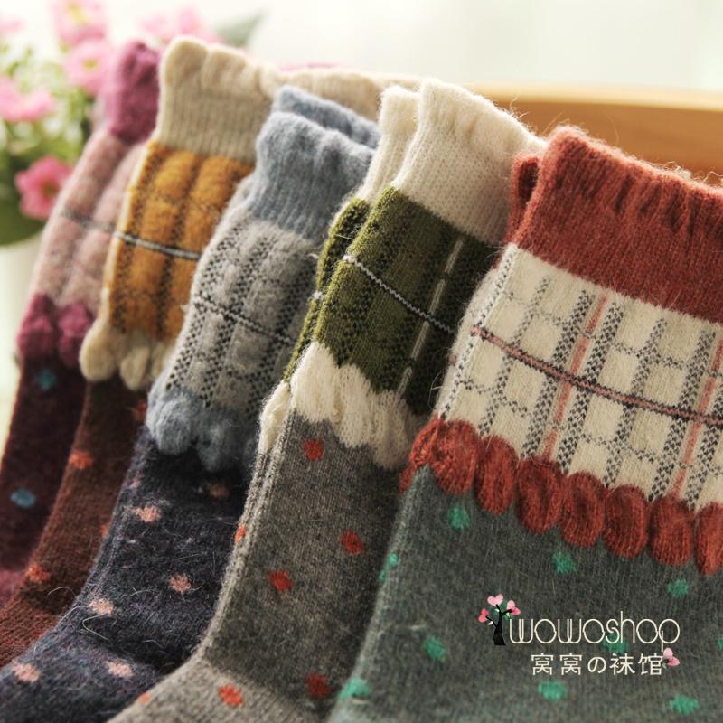Wool socks dot knee-high cashmere socks pile of pile of socks national trend short socks(China (Mainland))
