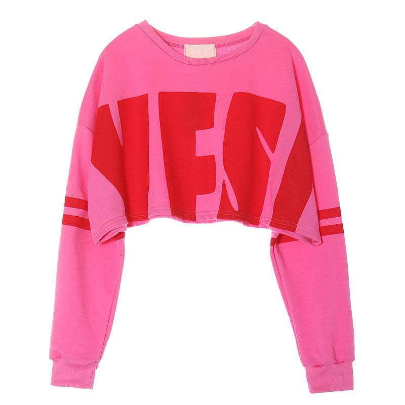 Cropped Hoodie Sweatshirt Kawaii Clothes Cute Korean Hoodies Sweatshirts Letter Print Pink Hoodies Pullover Sudaderas Mujer 2016(China (Mainland))