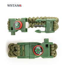 W S TANG New 2015 Paracord survival bracelet mountaineer adventure self rescue camping wristbands emergency rope
