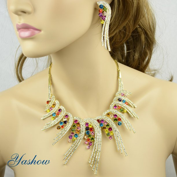 Designer Wedding Jewelry Set,Fashion Necklace and Earrings,Golden Zinc Alloy,AB Colour Rhinestone Jewelry Free Shipping